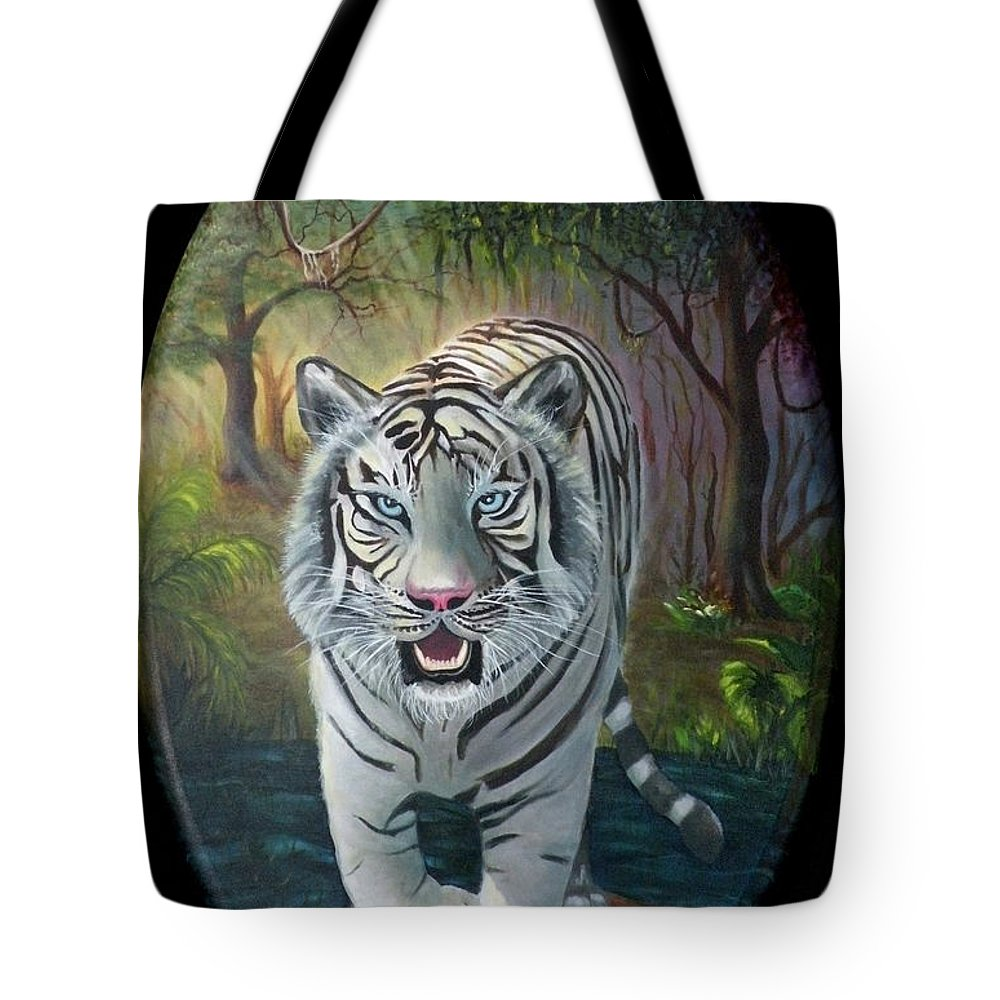 White Tiger Tote Bag featuring the painting Montecore The Enchanter by Lora Duguay