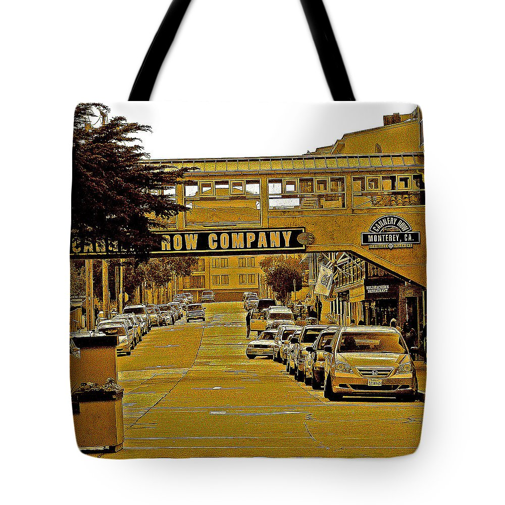 Monterey Cannery Row Company Tote Bag featuring the photograph Monterey Cannery Row Company by Joseph Coulombe