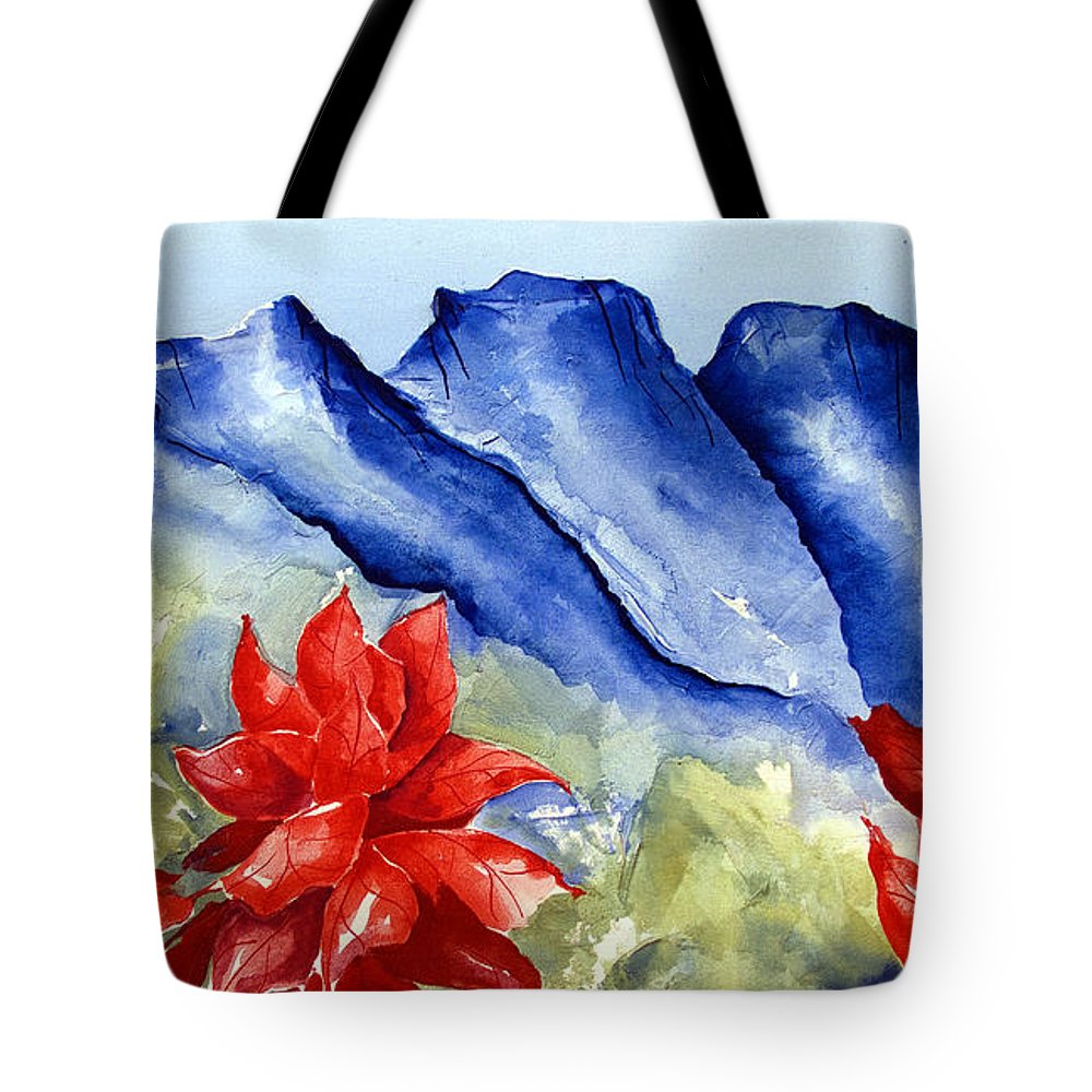 Mountains Tote Bag featuring the painting Monterrey Mountains with Red Floral by Kandyce Waltensperger