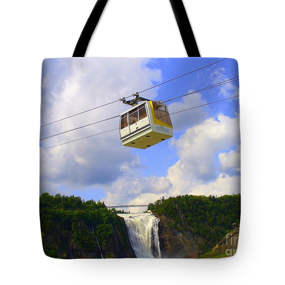Nature Tote Bag featuring the photograph Montmorency Falls And Gondola by Lingfai Leung