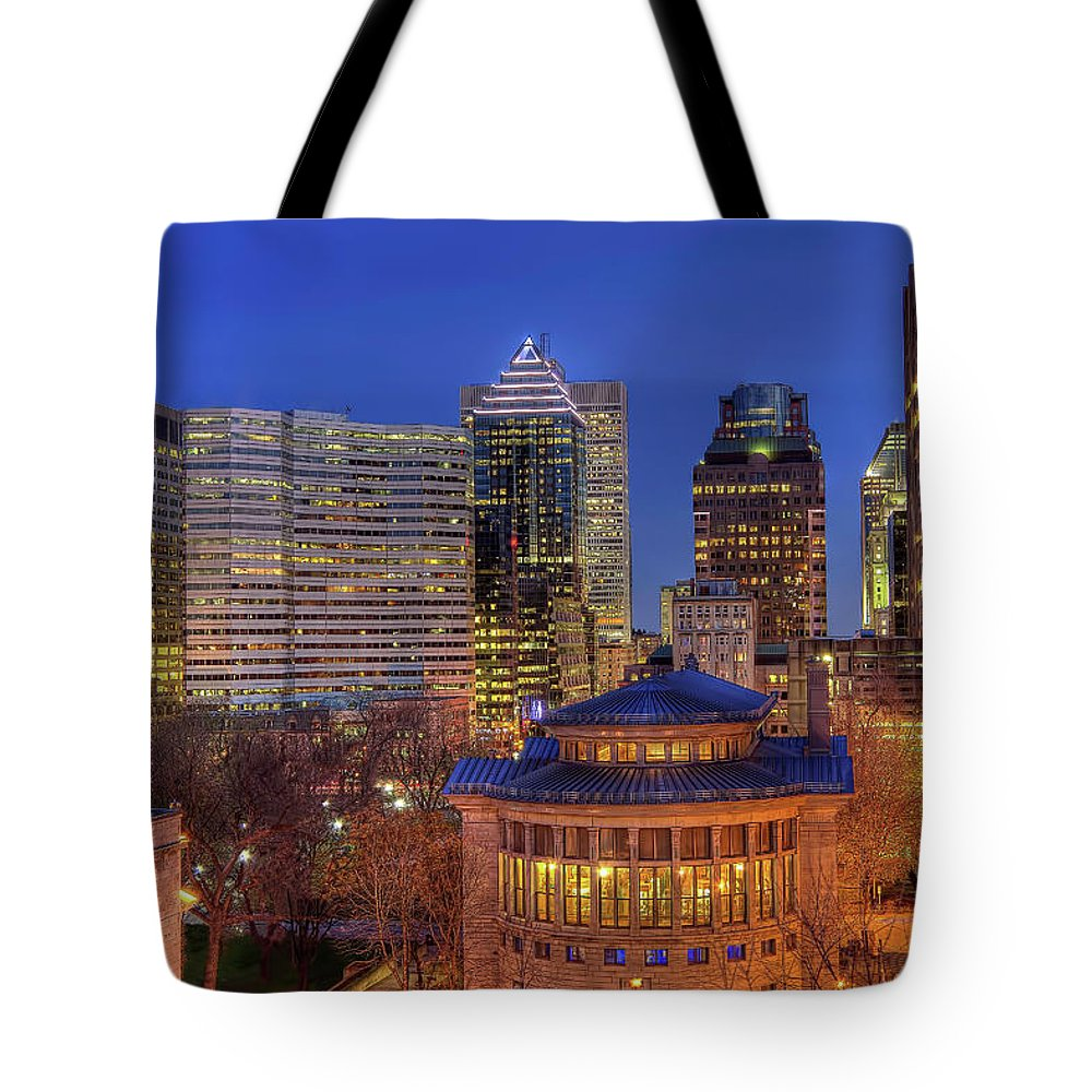 Tranquility Tote Bag featuring the photograph Montreal Downtown At Dusk Hdr II by Jean Surprenant