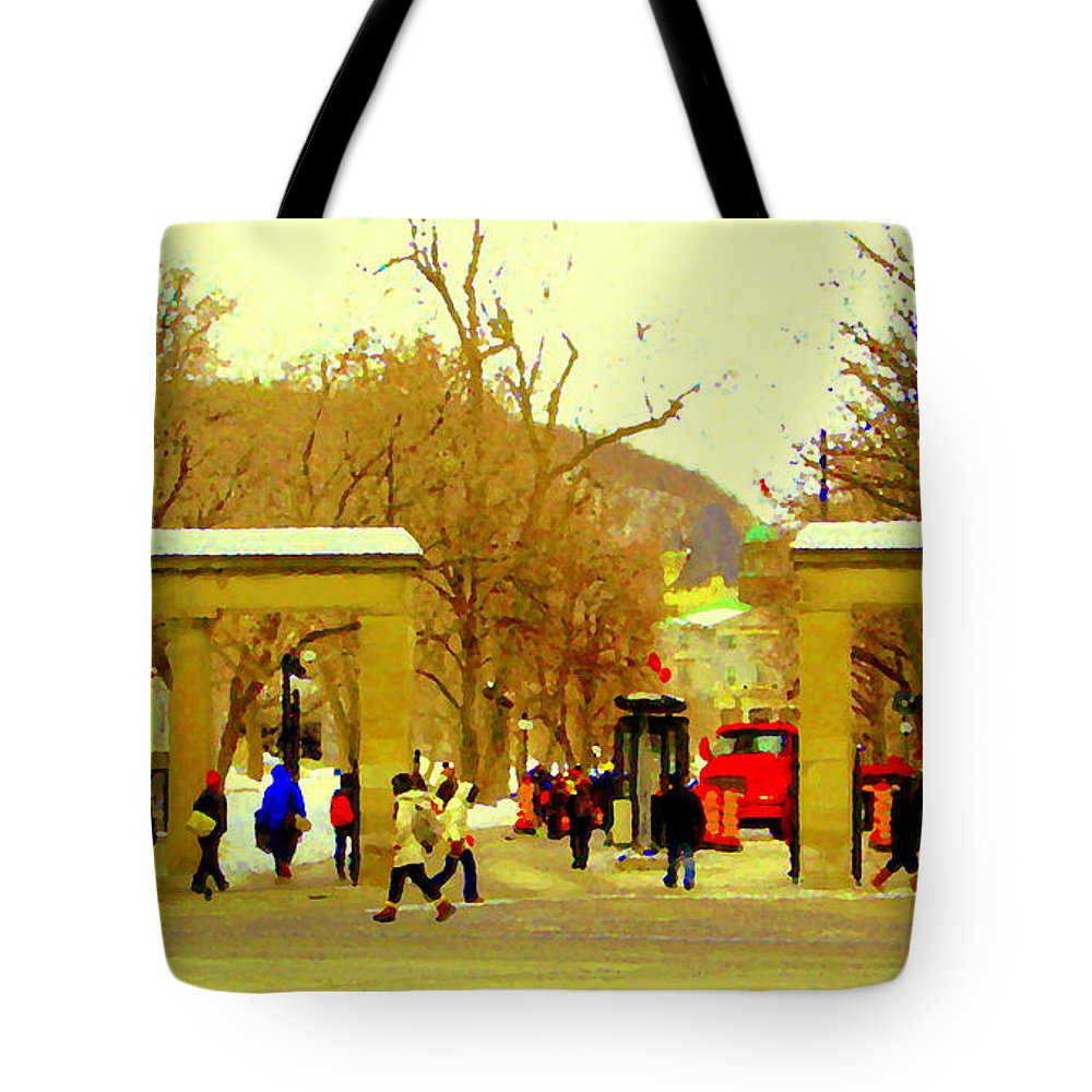 Tote Bag featuring the painting Montreal Memories Mcgill Students On Campus Roddick Gates Montreal Collectible Art Prints C Spandau by Carole Spandau