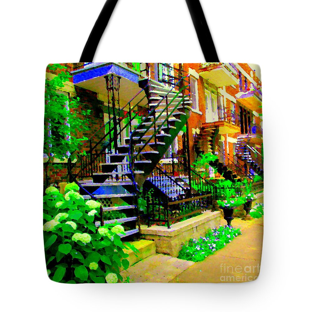 Montreal Tote Bag featuring the painting Montreal Staircases Verdun Stairs Duplex Flower Gardens Summer City Scenes Carole Spandau by Carole Spandau