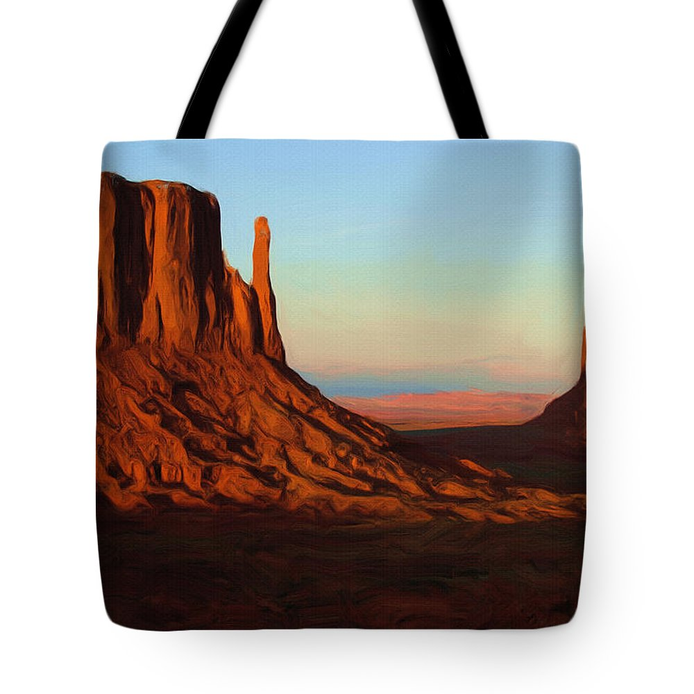 Monument Valley Tote Bag featuring the painting Monument Valley 2 by Inspirowl Design
