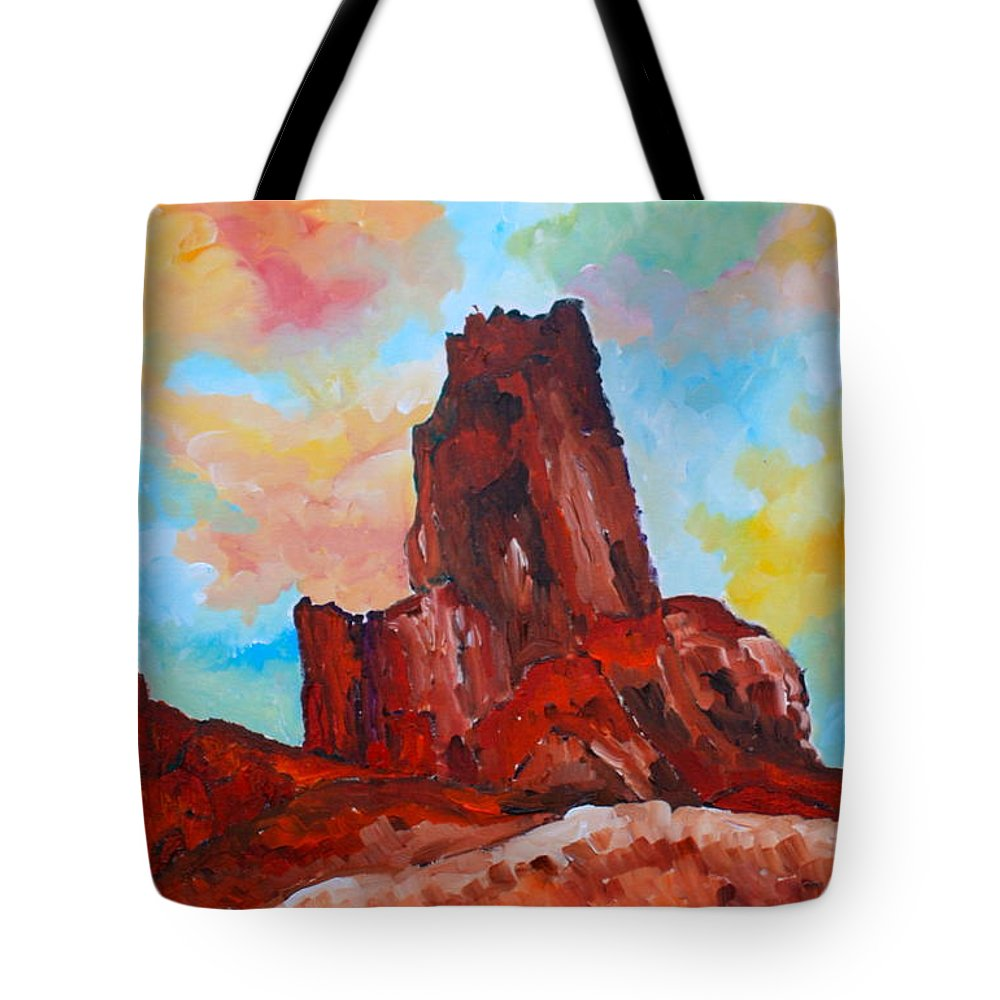 Desert Tote Bag featuring the painting Monument Valley Standing Tall by Maureen Janssens