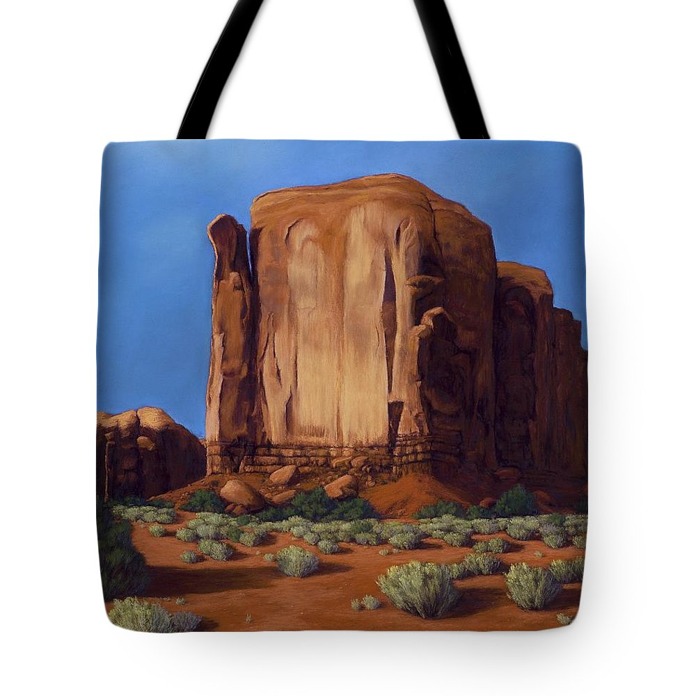 Monument Valley Tote Bag featuring the painting Monument Valley- Sunlit by Xenia Sease