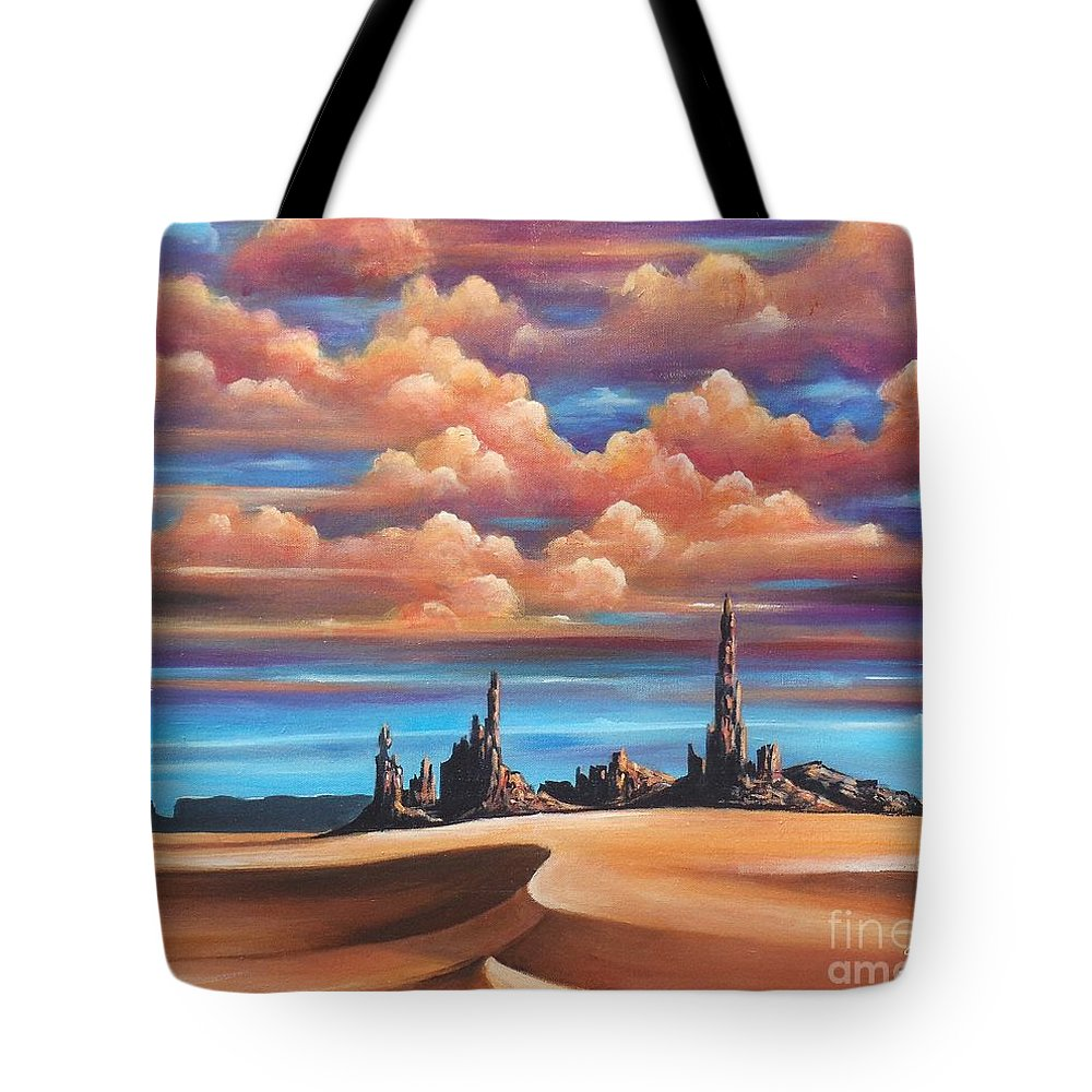 Acrylics Tote Bag featuring the painting Monument Valley by Artist ForYou