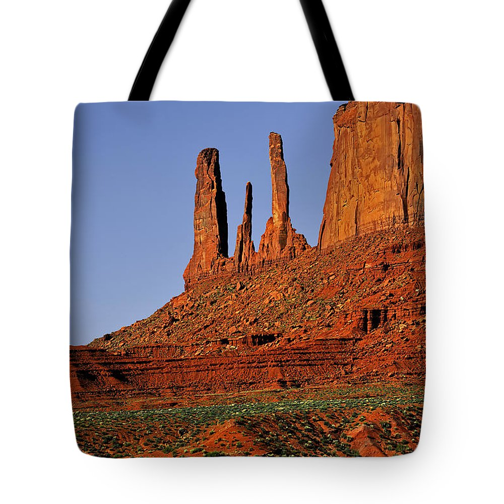 Monument Valley Tote Bag featuring the photograph Monument Valley - The Three Sisters by Christine Till