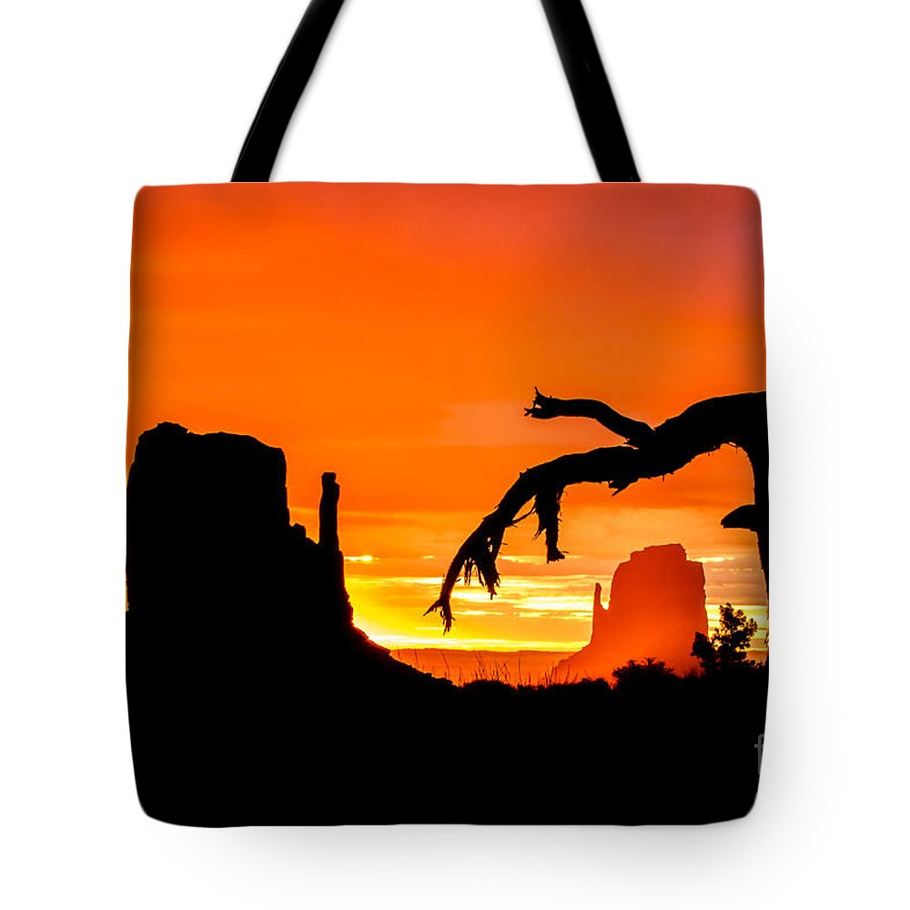 Arizona Tote Bag featuring the photograph Monumental Sunrise by Nicholas Pappagallo Jr