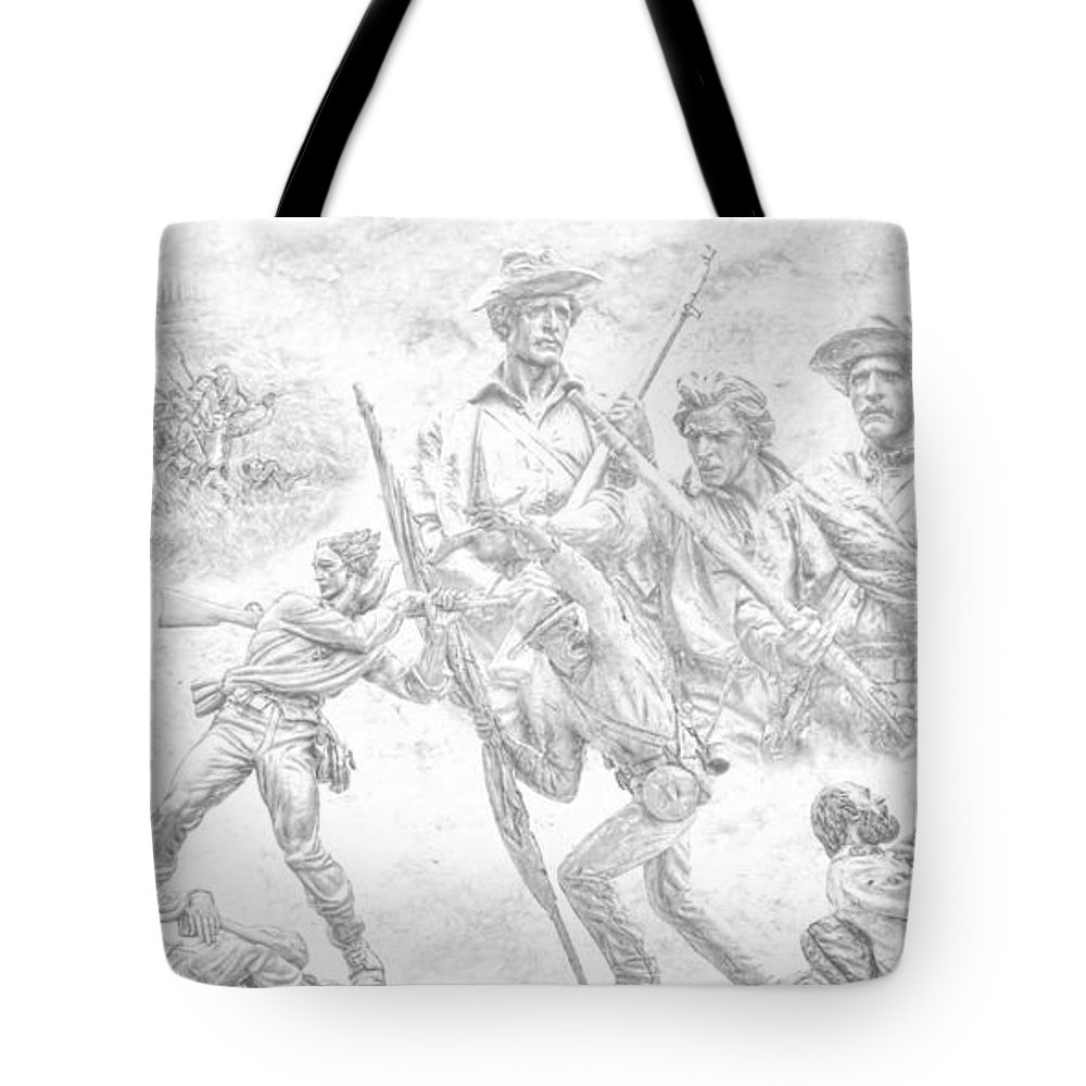 Monuments On The Gettysburg Battlefield Sketch Tote Bag featuring the digital art Monuments On The Gettysburg Battlefield Sketch by Randy Steele