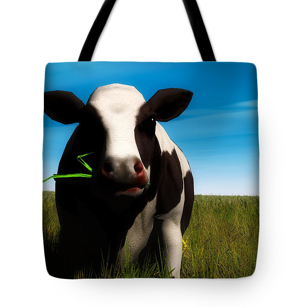 Cow Tote Bag featuring the digital art Moo... by Tim Fillingim