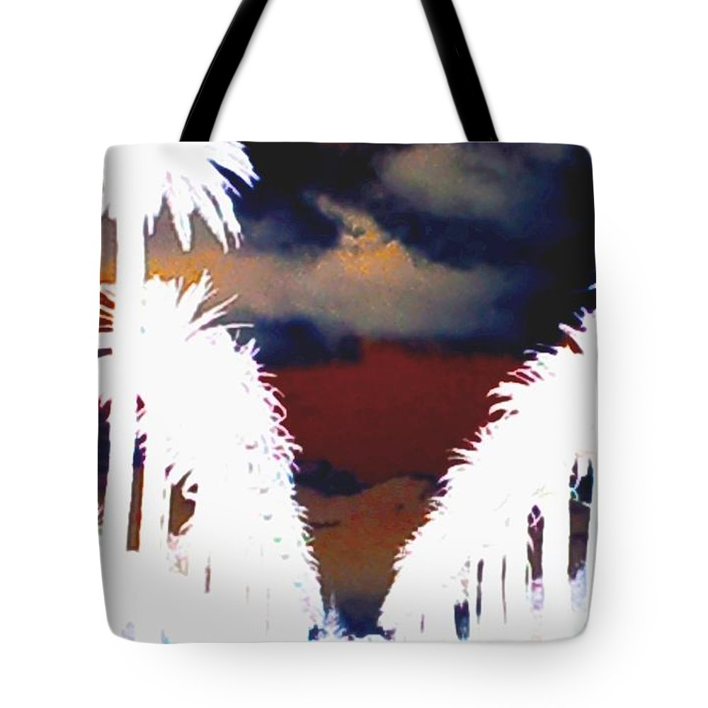 Los Angeles Usa Palm Tree Street Sky Abstract Dark Blue Red Black White Yellow Brown White Burgundy Mustard Silhouette Color Colour Mood Aaa lack & White Contrast Tote Bag featuring the photograph Moody Blues by Linda Hollis