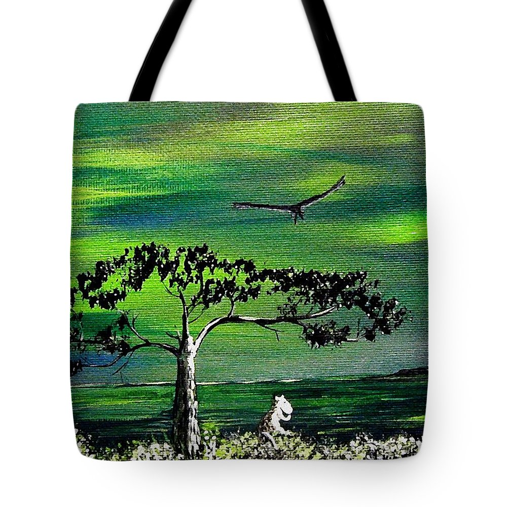 Decotarive Tote Bag featuring the painting Moomintroll And Lighthouse by Anastasiya Malakhova