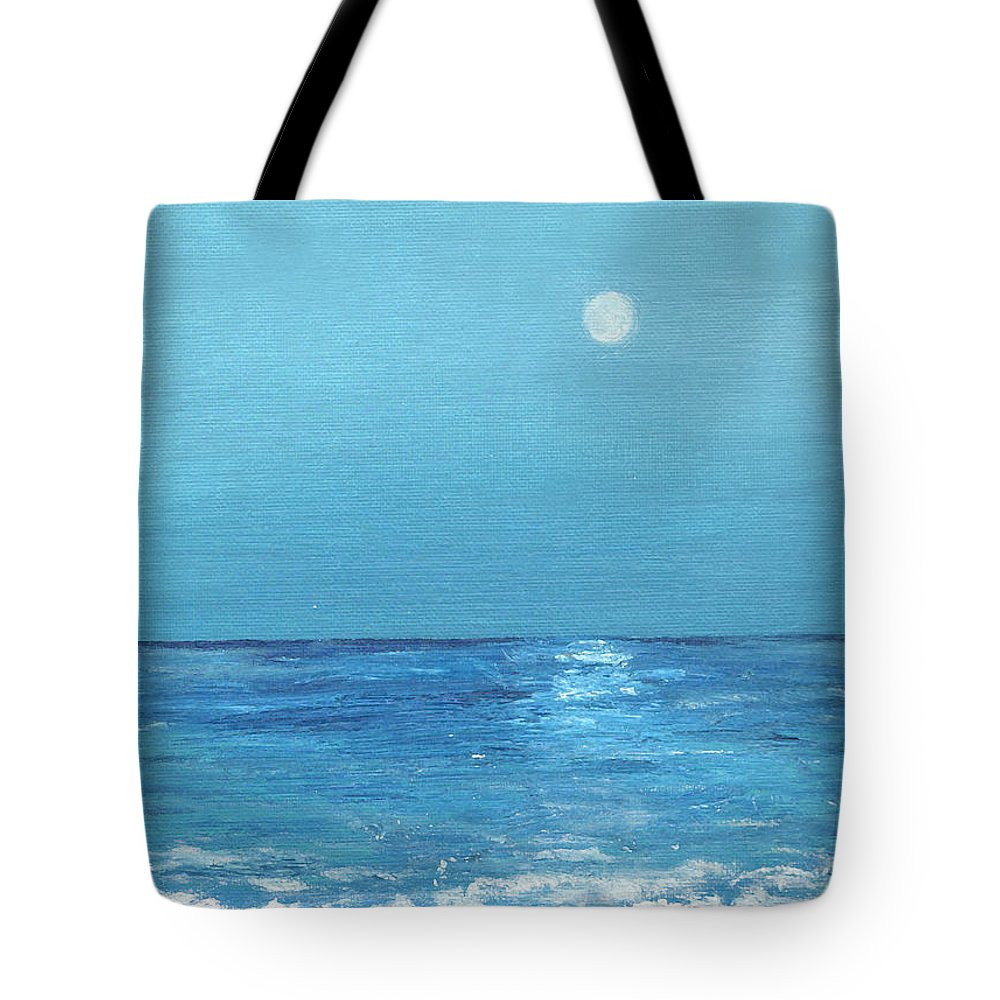Meteor Tote Bag featuring the painting Moon And Meteor by Jorge Delara