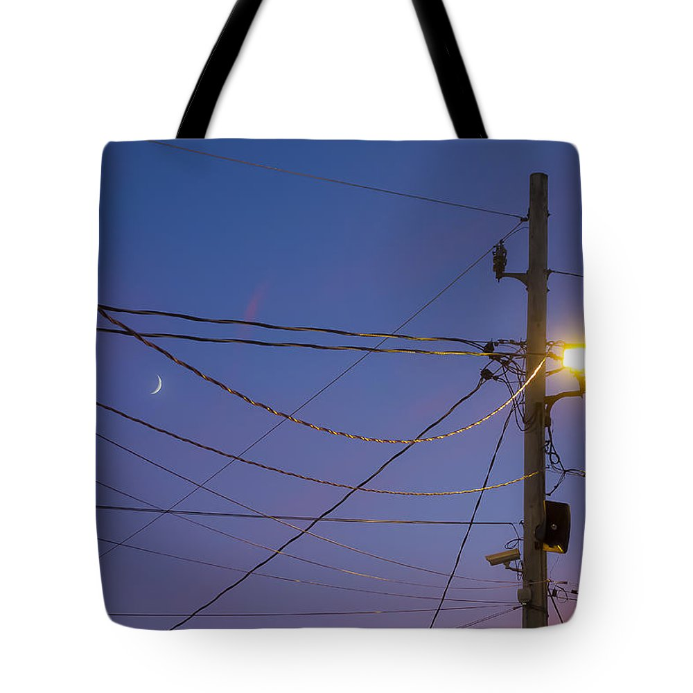 Fair Tote Bag featuring the photograph Moon And Wires by David Stone