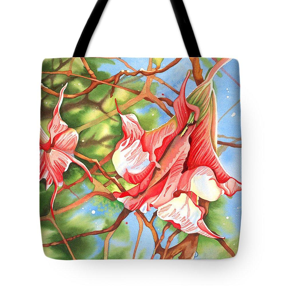Floral Tote Bag featuring the painting Moon Flowers At Renoir's Door by Joye Moon