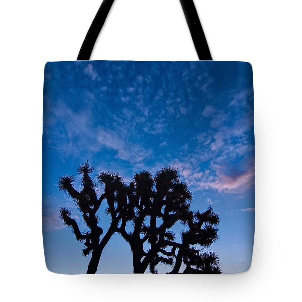Yucca Brevifolia Tote Bag featuring the photograph Moon Over Joshua - Joshua Trees During Sunrise In Joshua Tree National Park. by Jamie Pham