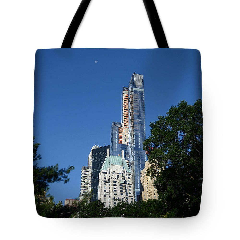 Moon Tote Bag featuring the photograph Moon Over Manhattan by Kathrine R Mitchell