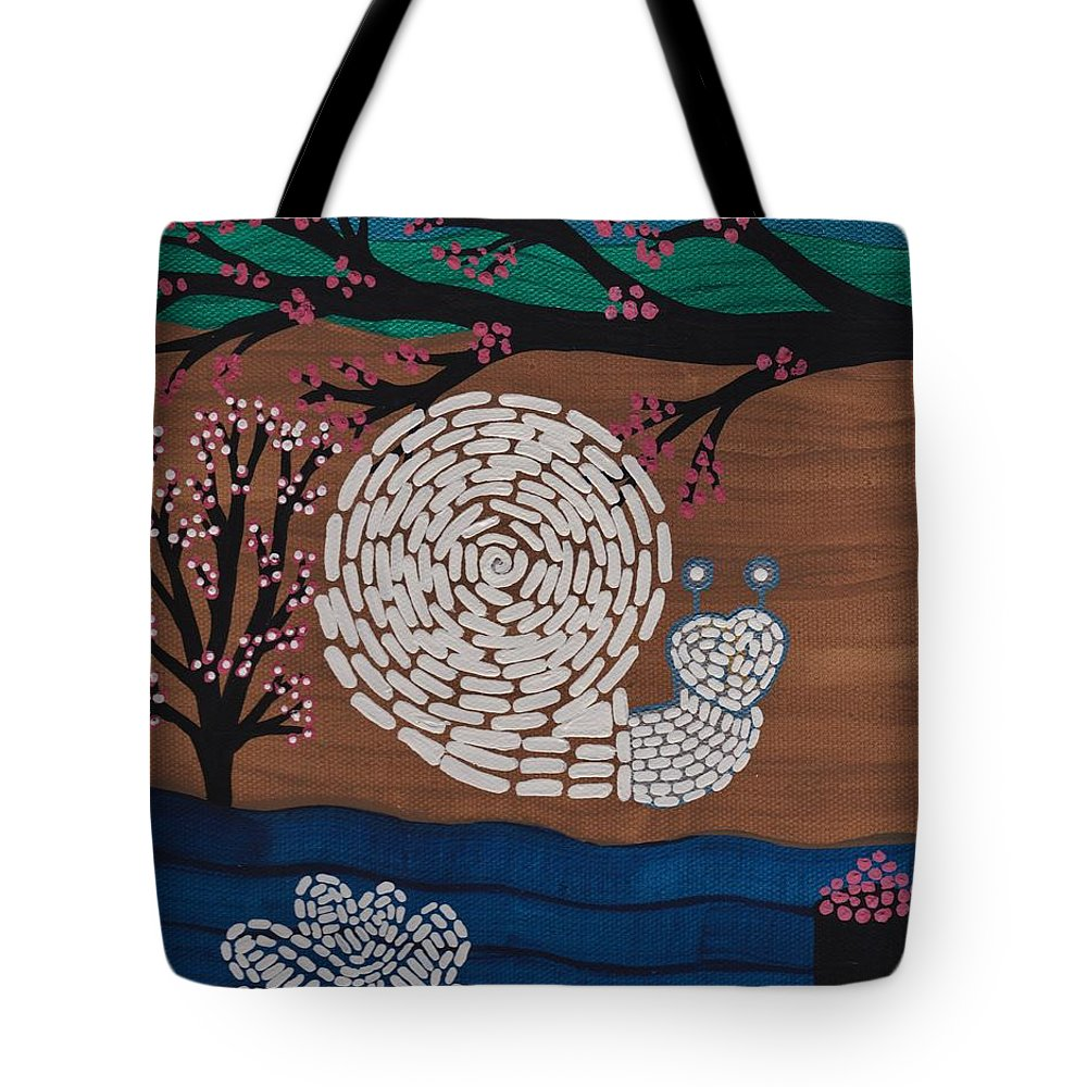 Moon Snail Bella Coola Tote Bag featuring the painting Moon Snail Bella Coola by Barbara St Jean