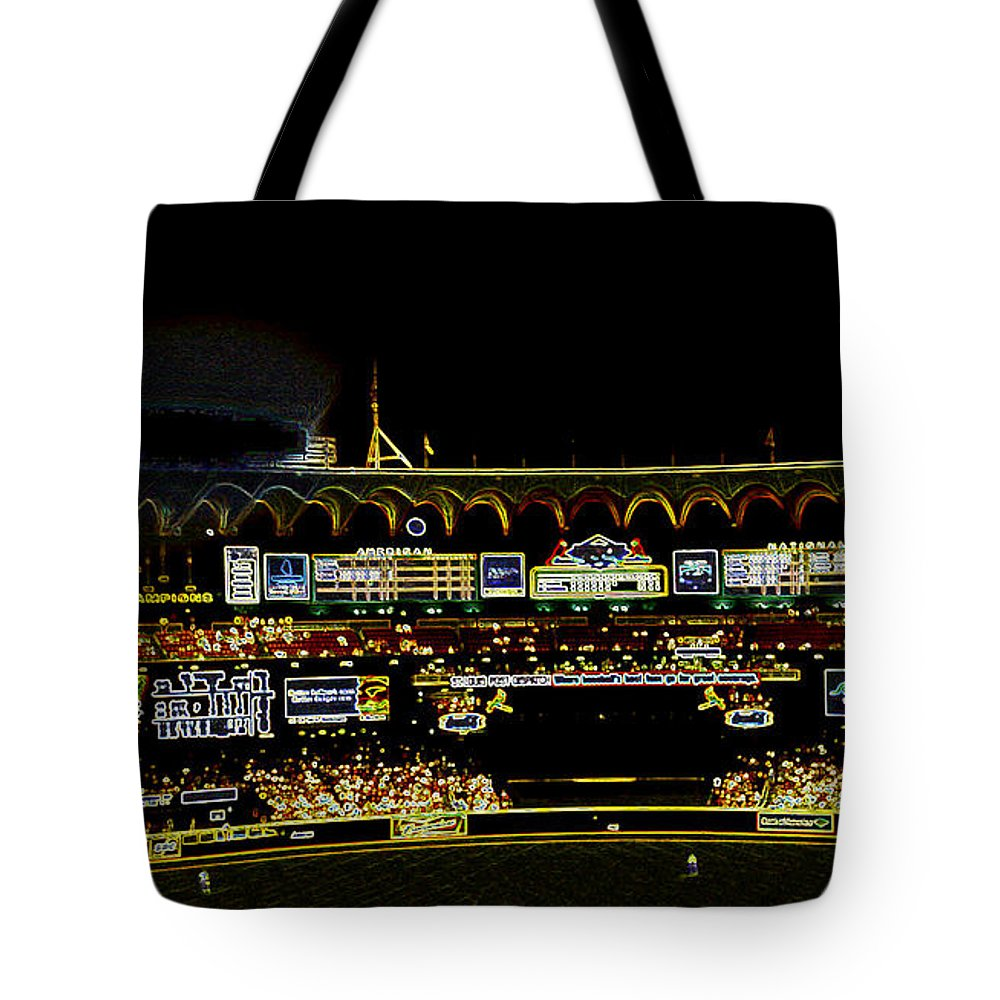 Tote Bag featuring the photograph Moon In The Arches In Neon by Kelly Awad