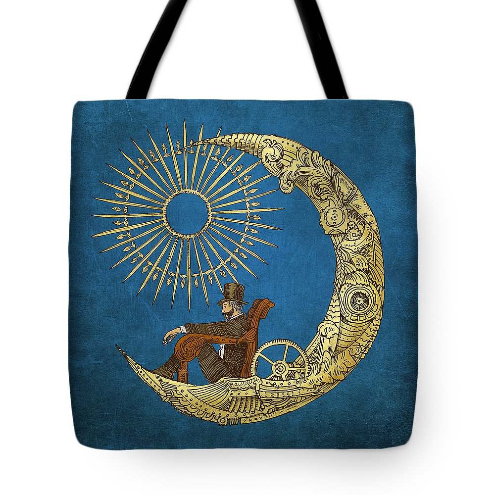 Blue Tote Bag featuring the digital art Moon Travel by Eric Fan