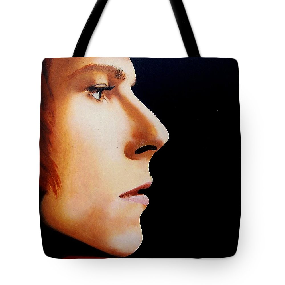 David Bowie Tote Bag featuring the painting Moonage Daydream by Jena Rockwood