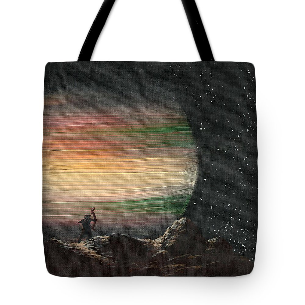 Planet Tote Bag featuring the painting Moonhunter by Dawn Blair