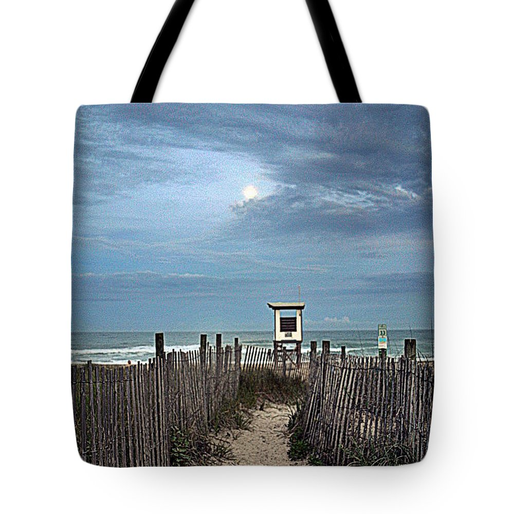 Moon Tote Bag featuring the photograph Moonlight Drama On The Beach by Amy Lucid