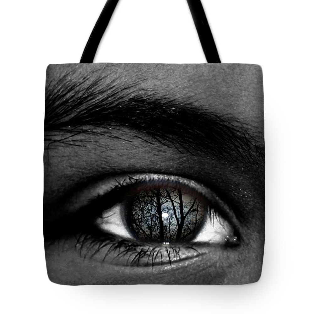Eye Tote Bag featuring the photograph Moonlight In Your Eyes by John Feiser