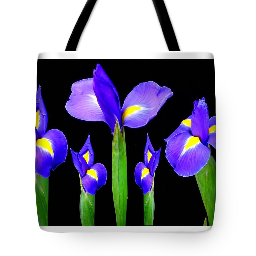 Purple Tote Bag featuring the mixed media Moonlight Purple Flower Selection Romantic Lovely Valentine's Day Print by Navin Joshi