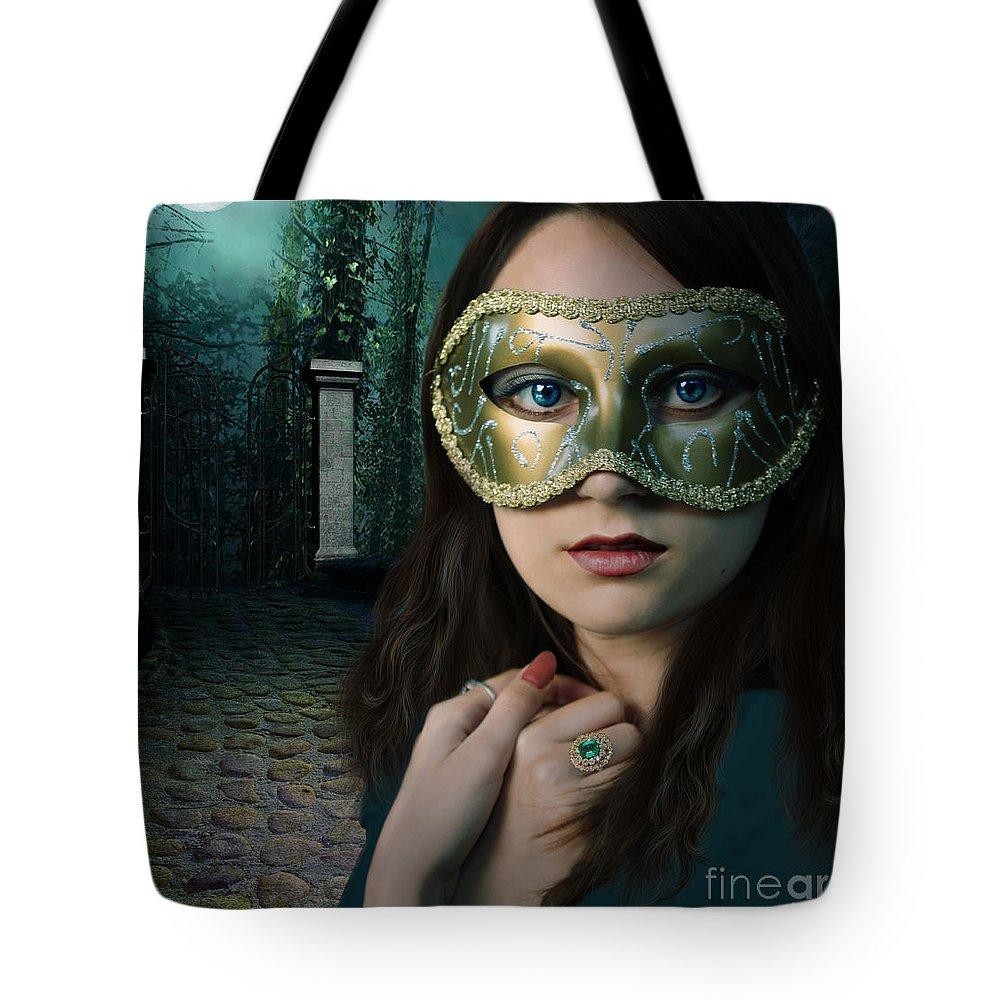 Girl Tote Bag featuring the digital art Moonlight Rendezvous by Linda Lees