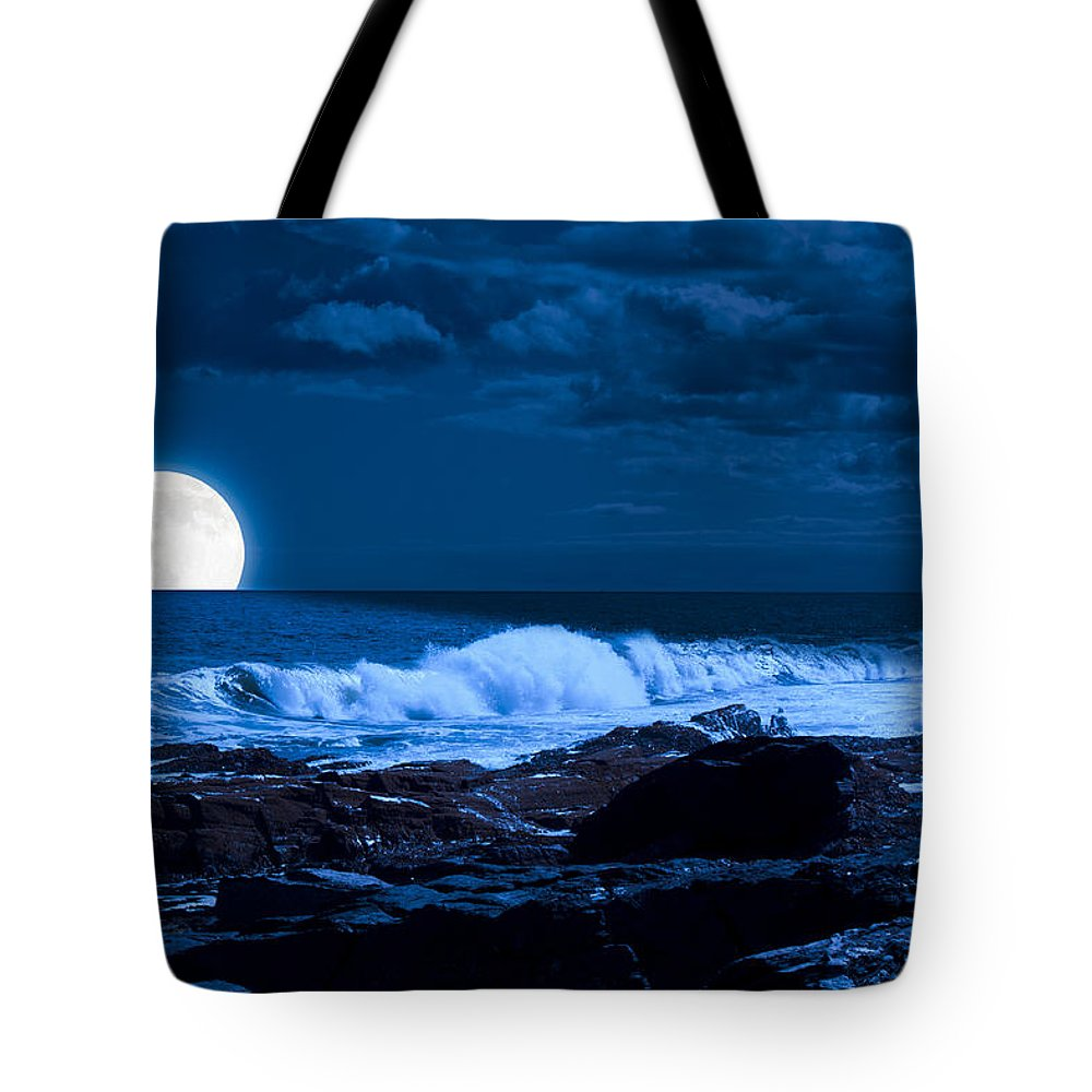 Fred Larson Tote Bag featuring the photograph Moonlight Sail by Fred Larson