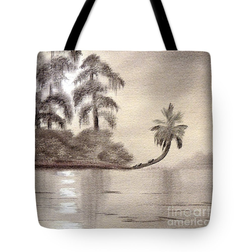 Wakulla River State Park Tote Bag featuring the painting Moonlight Wakulla Springs by Bill Holkham