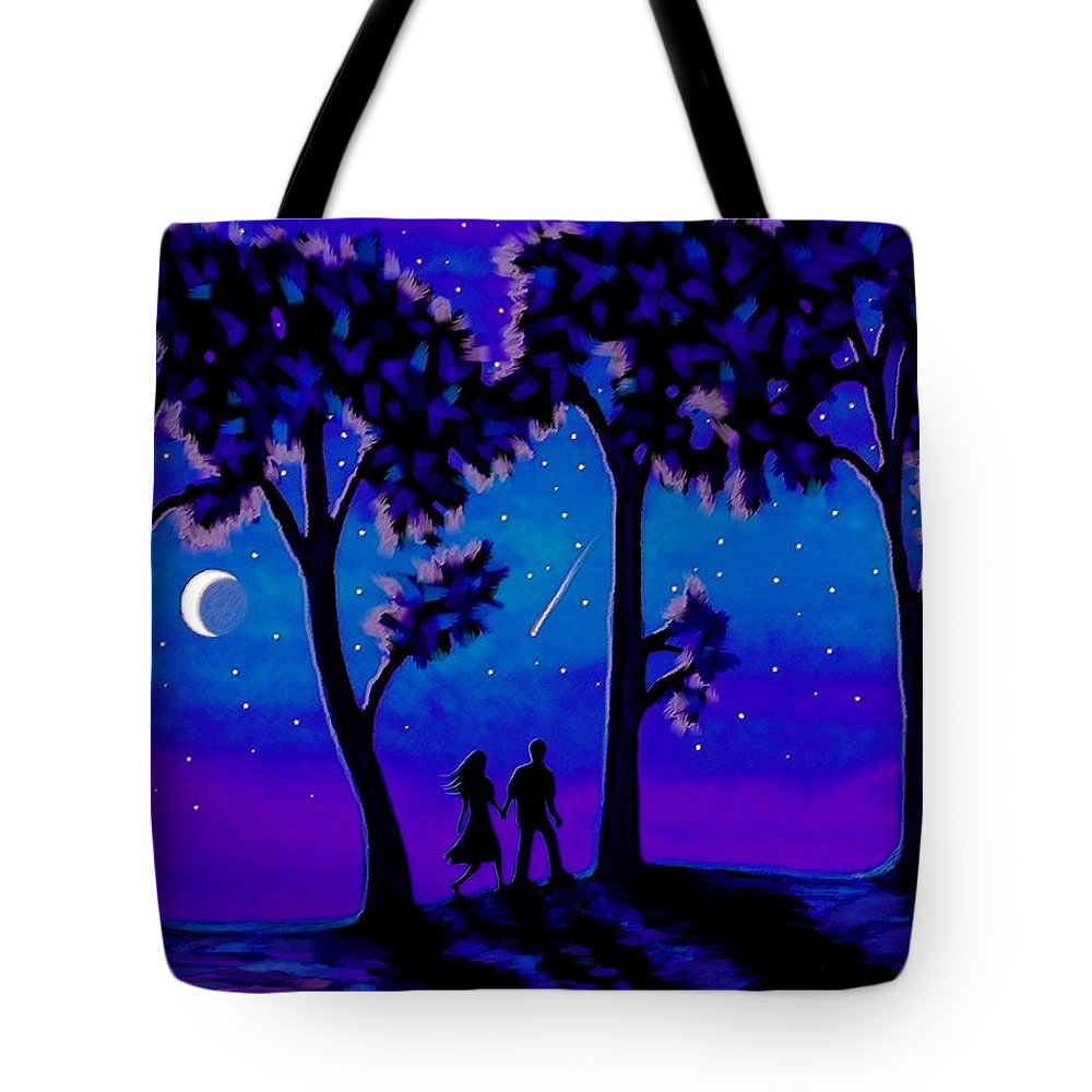 Moon Tote Bag featuring the painting Moonlight Walk by Sophia Schmierer
