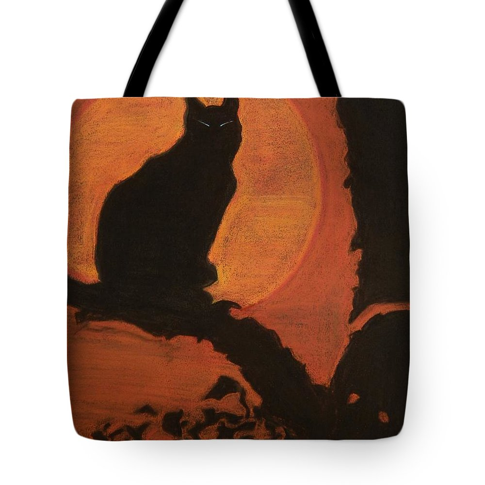 Cat Tote Bag featuring the pastel Moonlighting Cat by Caroline Street