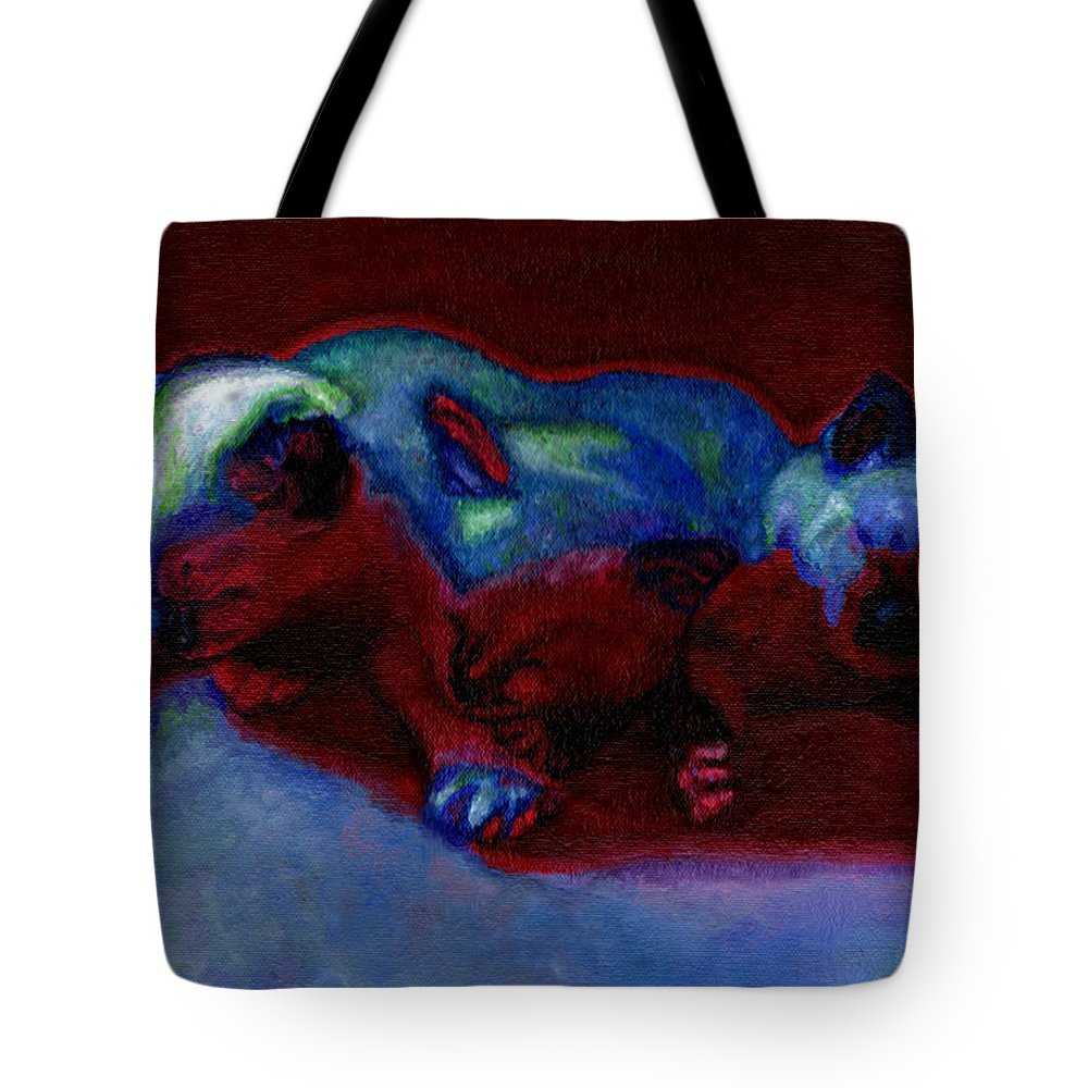 Cat Tote Bag featuring the painting Moonlit Sonata by Bronwen Skye