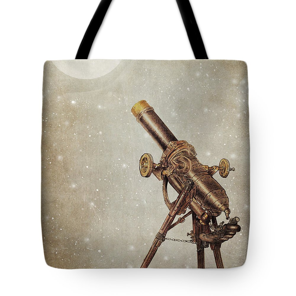 Moon Tote Bag featuring the drawing Moonrise by Eric Fan