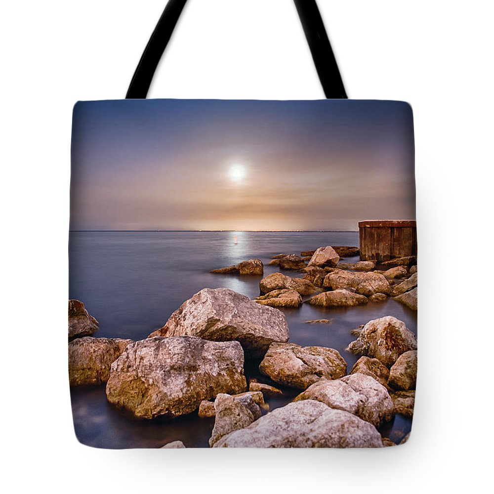 Tranquility Tote Bag featuring the photograph Moonrise Over Lake Ontario by Insight Imaging