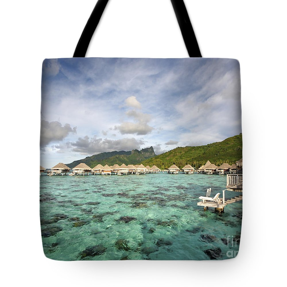 Above Tote Bag featuring the photograph Moorea Lagoon Resort by M Swiet Productions
