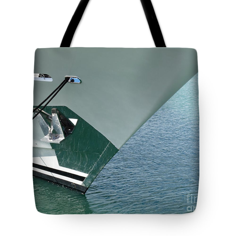 Abstract Tote Bag featuring the photograph Moored Ships Bow With Retracted Anchor Abstract by Stephan Pietzko