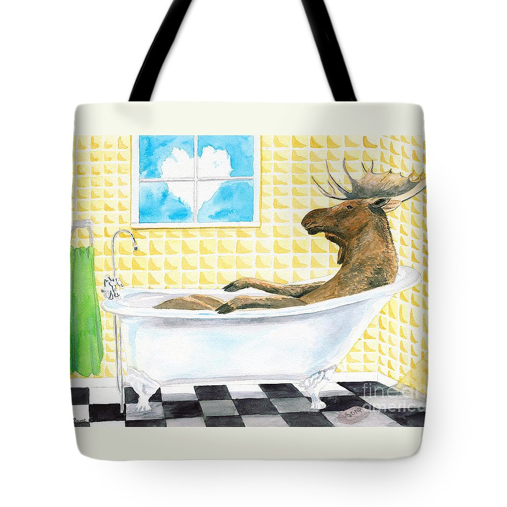 Moose Tote Bag featuring the painting Moose Bath by LeAnne Sowa