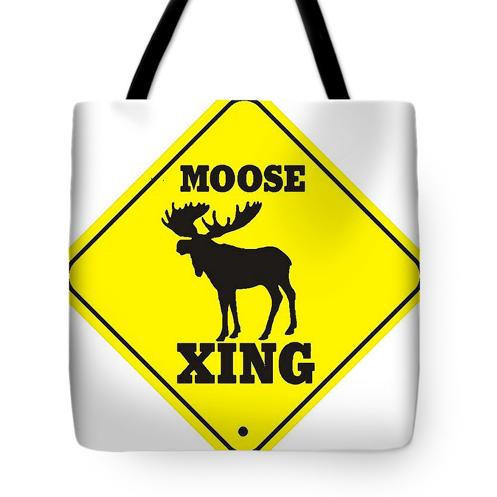 moose crossing sign tote bag for sale by marvin blaine