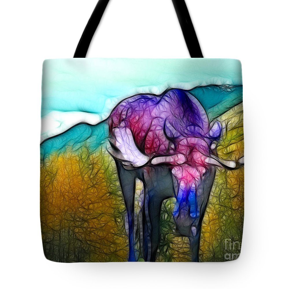 Moose Tote Bag featuring the mixed media Moose in Pure Light by Francine Dufour Jones