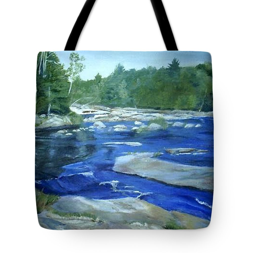 Moose River Tote Bag featuring the painting Moose River Lyons Falls by Sheila Mashaw