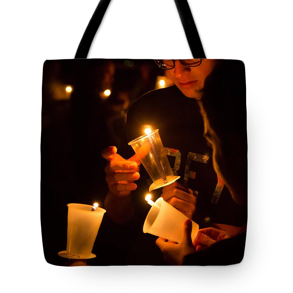 American Cancer Society Tote Bag featuring the photograph More Candles At Relay For Life by James Gordon Patterson