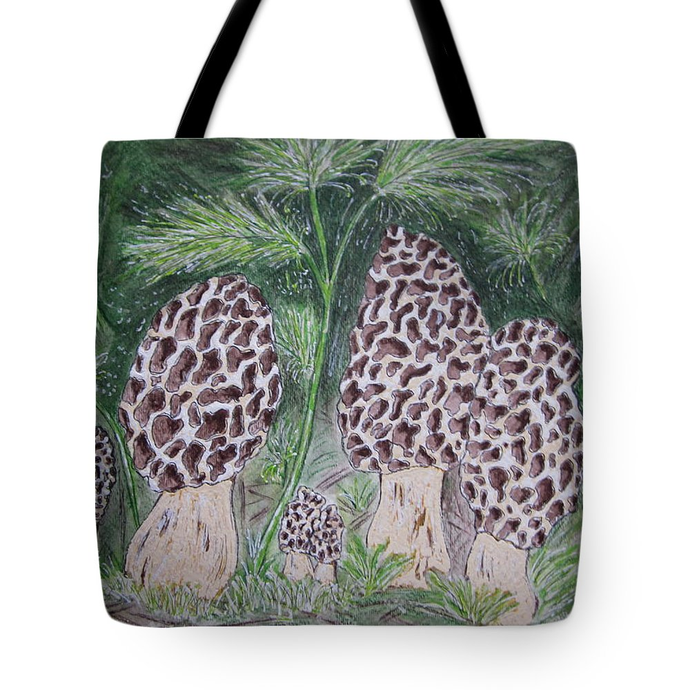 Morel Tote Bag featuring the painting Morel Mushrooms by Kathy Marrs Chandler