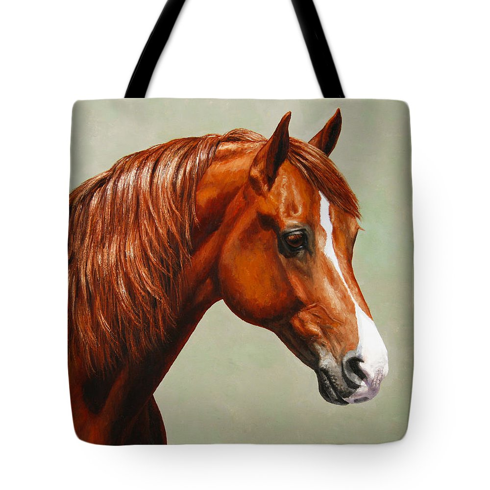 Horse Tote Bag featuring the painting Morgan Horse - Flame by Crista Forest
