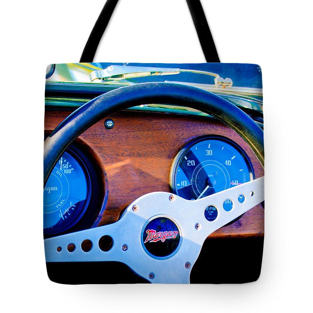 Morgan Steering Wheel Tote Bag featuring the photograph Morgan Steering Wheel by Jill Reger