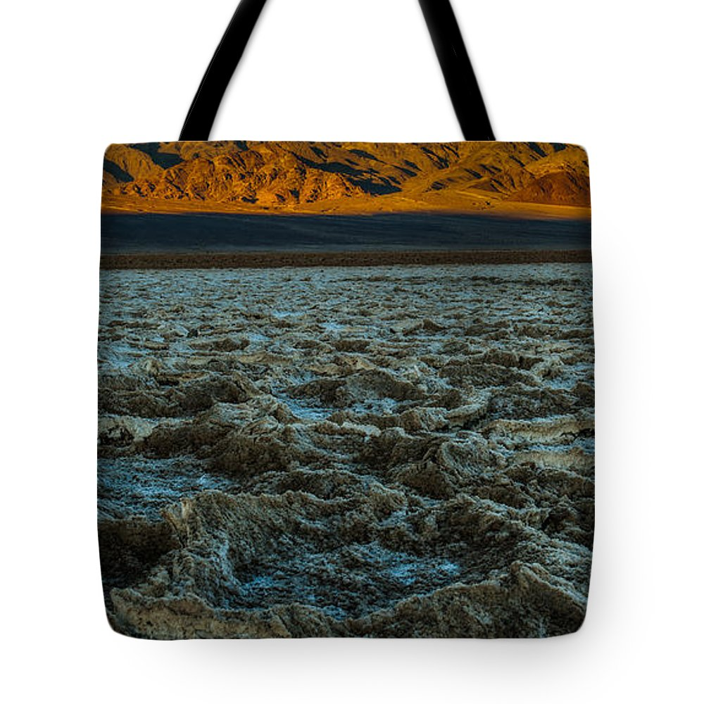 Morning At Badwater Tote Bag featuring the photograph Morning At Badwater by George Buxbaum