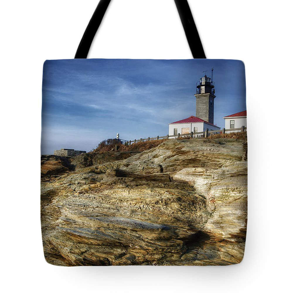Joan Carroll Tote Bag featuring the photograph Morning At Beavertail Lighthouse by Joan Carroll